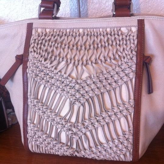 Anthropologie Nanette Lepore Leather Tote in Cream, Brown
