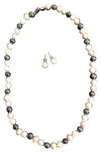 Other White, Ivory and Black Pearl Necklace with White Pearl Earrings