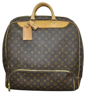 Louis Vuitton Canvas Evasion Travel Handbag Brown Travel Bag