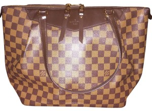 Louis Vuitton Westminster Gm Damier Ebene Pleats Damier Canvas Red Gold Hardware Tote in Brown