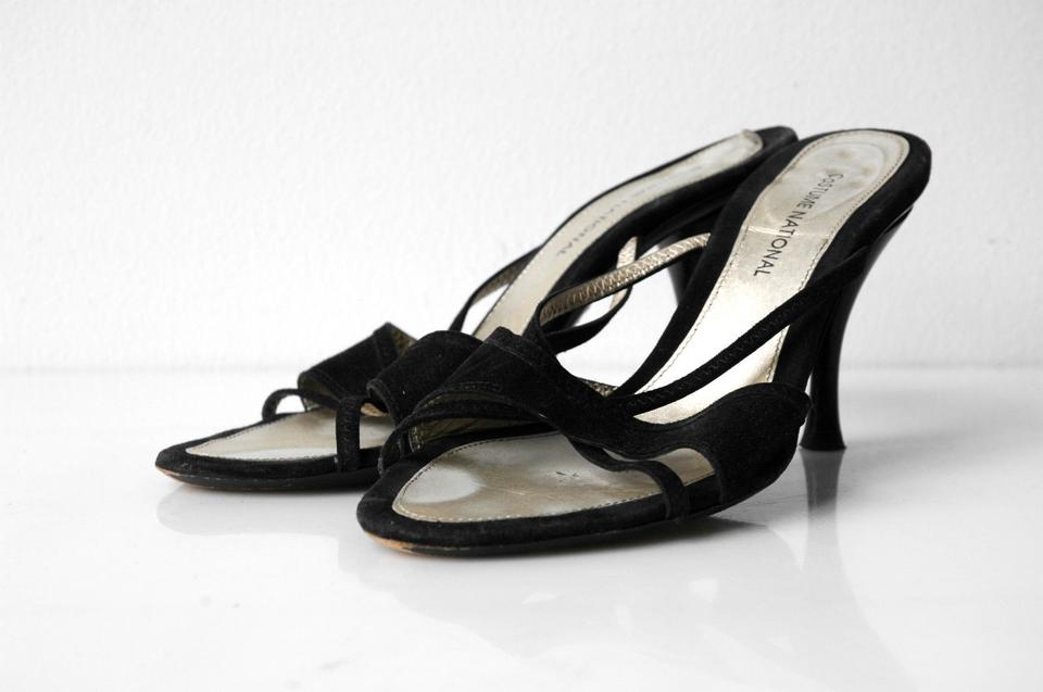 274fc56c000799 CoSTUME NATIONAL Black Cnc Suede Slip On Strappy Sandals Size US 7.5 ...