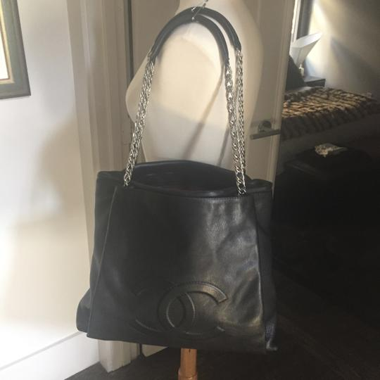 Chanel Tote Extralarge Lambskin Oversized Balck Leather Silver Hardware Shoulder Bag