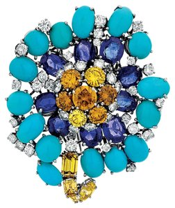 David Webb David WebbTurquoise Sapphire Diamond Platinum Brooch Pin