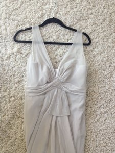 Vera Wang Light Grey V Neck Sleeveless Chiffon Column Dress Dress