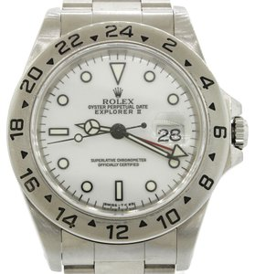 Rolex Authentic Rolex Explorer II 16570 Stainless Steel White Polar Dial GMT 40mm Sport Watch