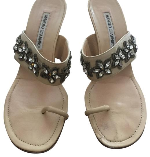 Manolo Blahnik Manolo Heel Sparkly nude with floral leather and rhinestone detail Sandals