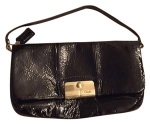 Coach Patent Evening Small Strap Brass Hardware Gold Hardware black Clutch