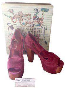 Jeffrey Campbell Leather Platform Foxy Wood Wine Platforms