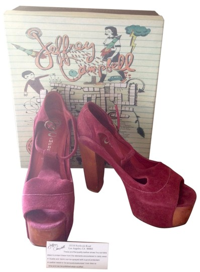 Jeffrey Campbell Leather Foxy Wood Peep Toe Suede Wine Platforms