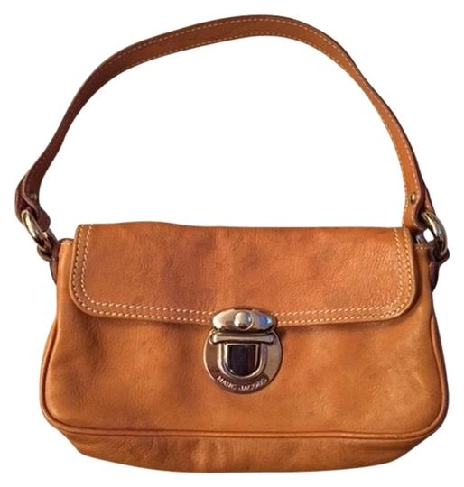 Marc Jacobs Nude Leather Mustard Brown Leather Nickel Hardware Baguette