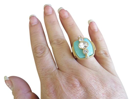 Lia Sophia Lia Sophia Chunky Statement Ring Aqua Blue Stone and Antiqued Gold
