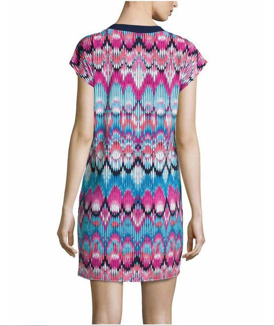 Laundry by Shelli Segal short dress Violet Rose multi Machien Washable Pull Over Style Straight Hem Relaxed Silhouette Cap Sleeves Short Sleeves Split Neckline Print on Tradesy