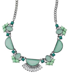 Lia Sophia Lia Sophia Statement Bling Necklace Turquoise Blue Mint and Silver with Gemstones