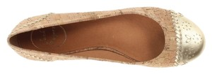 Jack Rogers Cork Leather Wipstitching Gold Flats