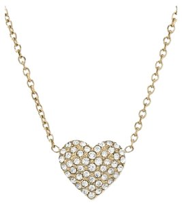 Michael Kors Michael Kors Necklace, Gold-Tone Crystal Mini Heart Pendant Necklace (Ship Via Priority Mail)