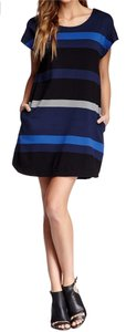 Max Studio short dress Blue, Black, Gray Scoop Neck Dolman Sleeves Relaxed Silhouette Side Seam Pockets Allover Stripes Pullover Style Machine Washable on Tradesy