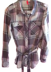 H&M Button Down Shirt Navy, pink, grey plaid