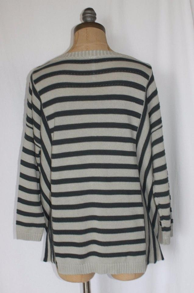 9ffbeefaf Anthropologie Willow Clay Striped Teal and Gray Sweater - Tradesy