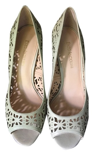 Enzo Angiolini Floral Flower Heels Stiletto Formal Cutout Spring Summer Teal/sea foam green Pumps