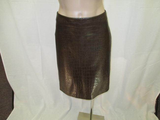 Max Mara S Embossed Leather Inverted Pleat New Skirt Brown