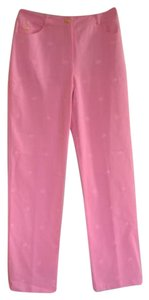 St. John Denim Sport Embroidery Daisy Flower Straight Pants Pink