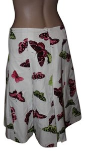 Talbots Skirt white with pink green purple butterflies