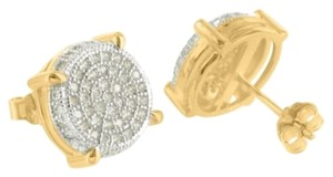 Round Design Sterling Silver Yellow Gold Finish Pave Lab Diamond Mens Earrings