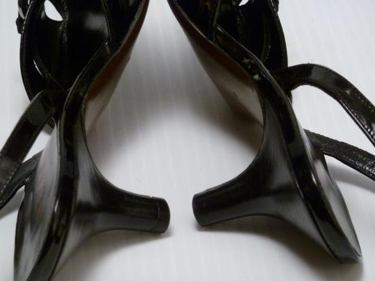Walter Steiger Patent Leather Fabric Black Sandals