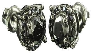 Other Elegant Classic Solitaire Orb Obsidian Black Lab Diamond Stud Silver Earring