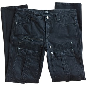 CoSTUME NATIONAL Moto Denim Black Straight Leg Jeans-Dark Rinse