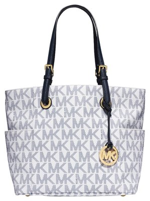 michael kors michael kors jet set tote white navy logo 20 off. Black Bedroom Furniture Sets. Home Design Ideas