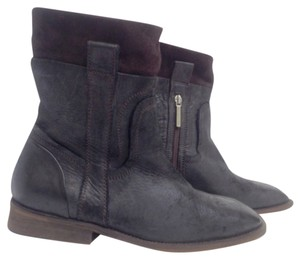 Donald J. Pliner Black leather brown suede Boots
