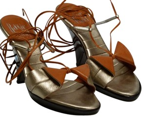 Rodolphe Menudier Leather Strappy Lace Up Peach and Gold Sandals