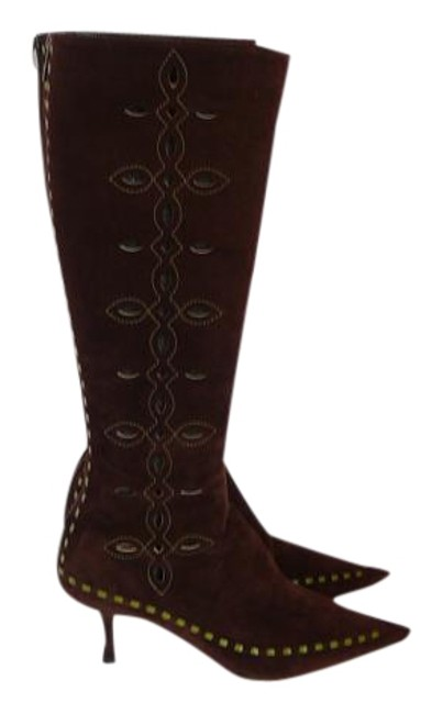 Jimmy Choo Brown Suede Cut Out Knee High Boots/Booties Size EU 39.5 (Approx. US 9.5) Regular (M, B) Jimmy Choo Brown Suede Cut Out Knee High Boots/Booties Size EU 39.5 (Approx. US 9.5) Regular (M, B) Image 1