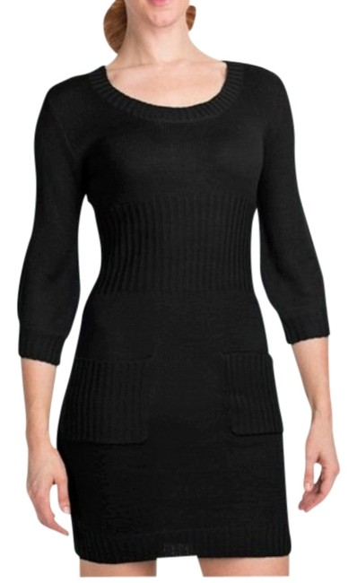 Item - Black Double Pocket Sweater 3/4 Sleeve (For Women Above Knee Short Casual Dress Size 12 (L)