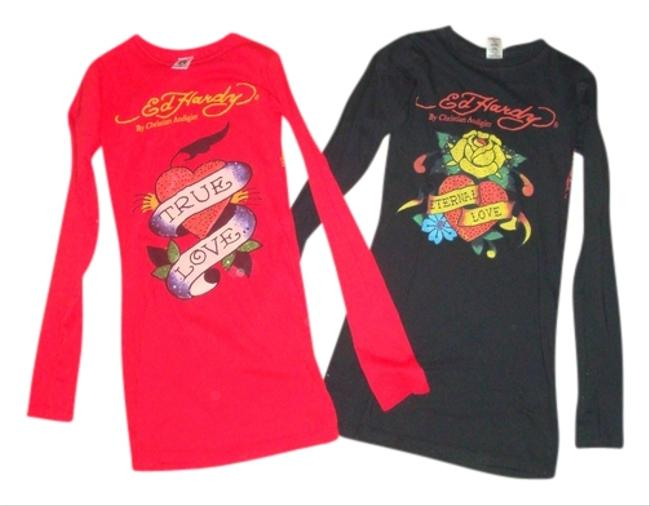 Ed Hardy T Shirt Black and Red