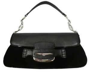 Tod's Leather And Suede Flap Silver Hardware Baguette