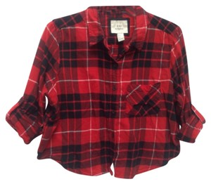 Forever 21 Button Down Shirt Black, Red & White Plaid