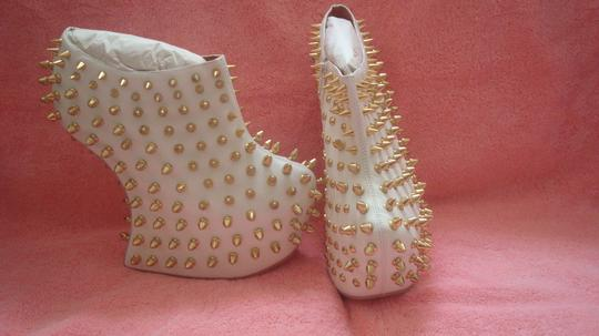 JEFFREY CAMPBELL SHADOW STUD in WHITE GOLD WHITE with GOLD STUDS and SPIKES Wedges