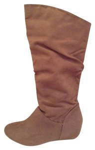 Trend Report Faux Suede Wedge Taupe Boots