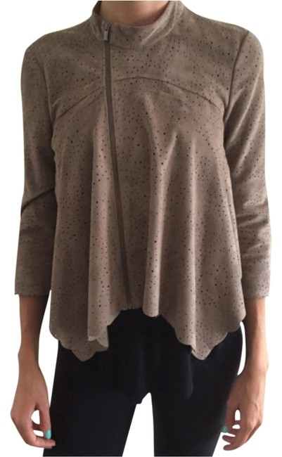Item - Brown Laser Cut Suede Cropped Jacket Size 4 (S)