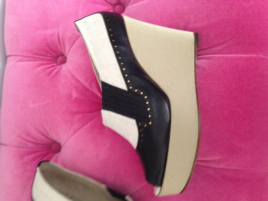 Rochas Black and Beige Wedges