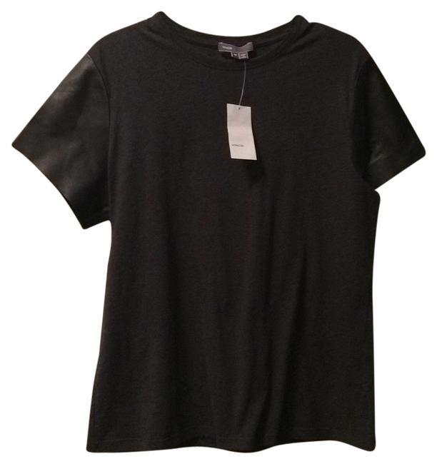 Preload https://img-static.tradesy.com/item/5534728/vince-gray-leather-sleeve-tee-blouse-size-8-m-0-0-650-650.jpg