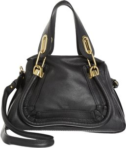 Chloé Leather Italy Paraty Satchel in Black