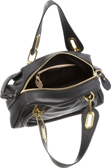 Chloé Leather Italy Paraty Satchel in Black Image 3