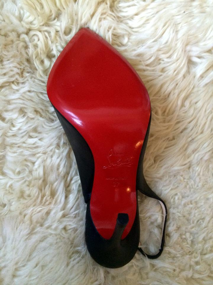 bdb5cbfb5d4 Christian Louboutin Black Corneille Asymmetric Red Sole Slingback Pumps  Size US 7 Regular (M, B)