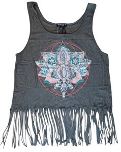 About A Girl Fringe Hem Boho Mandala Flower Soft Frayed Top Charcoal Gray