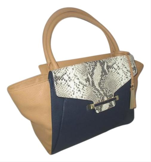 Vince Camuto Satchel in Peacoat / Oak / Ivory Python