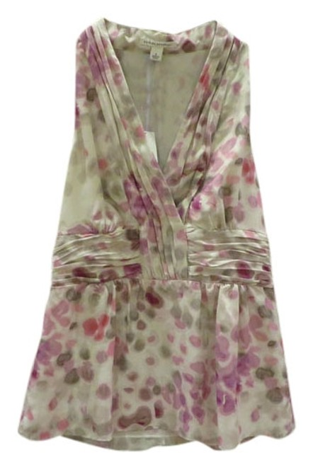 Item - Taupe and Pink Abstract Print Silk Halter Top Size 8 (M)