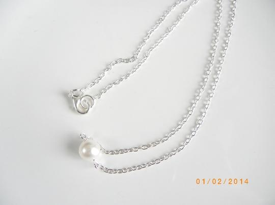 Other White Pearl Choker, glass Pearl Necklace, Floating Necklace,